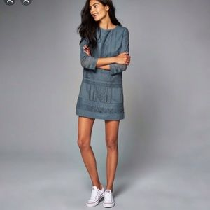 Abercrombie & Fitch Lace Shift Blue Mini Dress